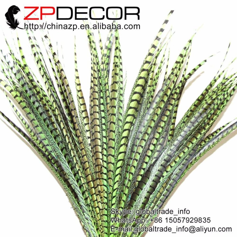 ZPDECOR buena venta 28-32 pulgadas (70-80 cm) 20 unids/lote bonito verde lima Faisán de Amherst para mujer pluma de cola para decoración de Carnaval