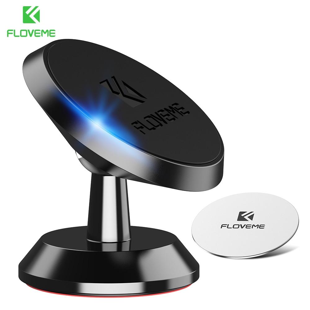 Soporte de teléfono para coche FLOVEME con fuerte rotación magnética 360, soporte de teléfono para iPhone 5s, 7 Samsung, soporte móvil para coche