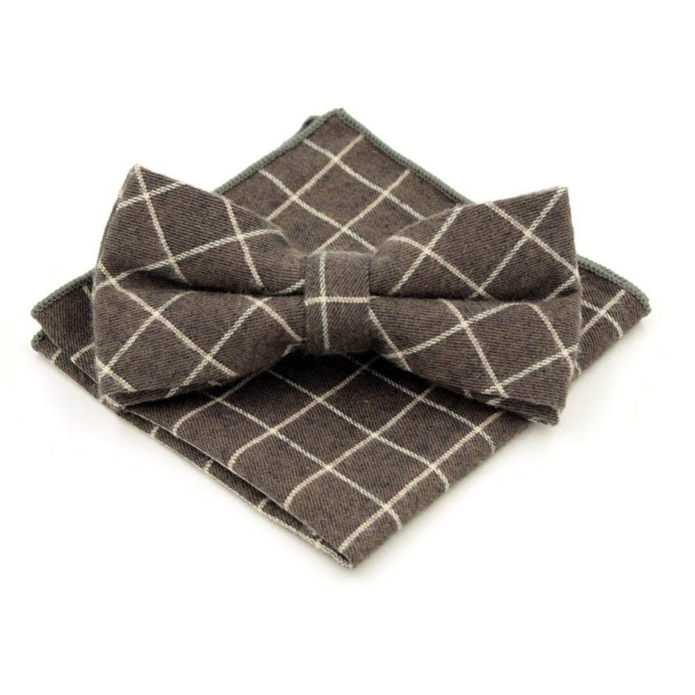 New Arrival Gentleman's Adjustable Leisure Plaid Bowtie Hanky Set Cravat Handkerchief  Coffee Butterfly Pocket Square