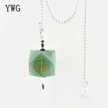 1pc naturel Rose breloque quartze pendule gravé pierre verte aventurine 12 facette Chakra guérison Reiki symboles perle fin décor