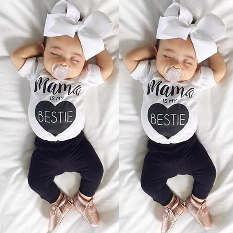 0-24 M Dziecko Niemowlę Toddle Dziewczyny Boys Baby Ubrania Letnie Krótkie Mama rękawa T-Shirt Top + Pant 2 sztuk Outfit Odzież Bebes zestaw 1
