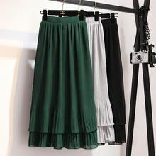 2019 New Spring Summer Fashion High Waist Pleated Skirts Women Elegant Ruffles Chiffon Skirt Sweet Slim A-Line Skirt Female M634