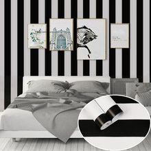 Papier peint PVC auto-adhésif classique   Bande noire blanche, largeur 45cm, 10m de long, autocollant mural de mode, salon, magasin, décor de maison
