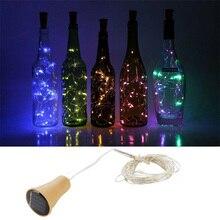 Bouteille lumineuse solaire, 1M 1.5M 2M bouteille de vin alimentée en forme de liège, guirlande en cuivre fée, lumières de fil de Festoon