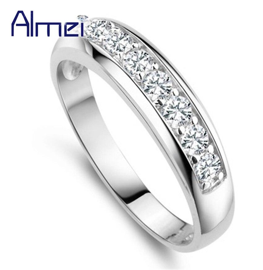Anillo de compromiso de Color plateado con circón CZ blanco de Almei, 40% de descuento, anillos de joyería para mujer y niña, anillo Vintage, bisutería femenina J294
