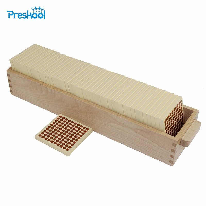 Montessori Math Teaching aids kindergarten children puzzle wooden Toys 45 Wooden Hundred Squares