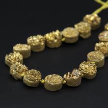 16 pièces/brin titane or brut Quartz géode Drusy plat rond Cabochon perles, Roug Agates cristal Druzy Coin dalle pépite pendentif