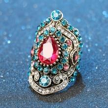 Nieuwe Turkije Sieraden Bohemen Unieke Rode Grote Vintage Trouwringen Voor Vrouwen Plating Goud Mozaïek Blue Crystal Fashion Liefde Gift