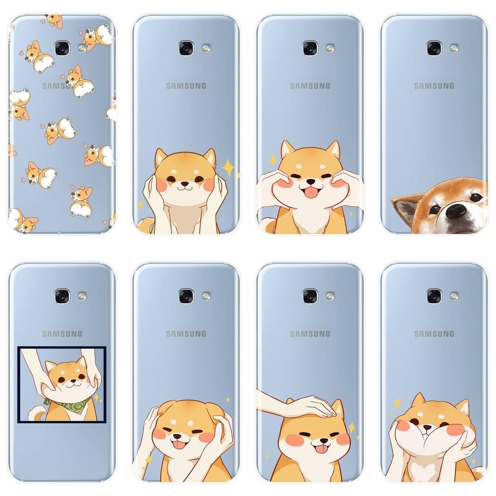 Back Cover For Samsung Galaxy A5 A7 2018 A6 A8 Plus Shiba Inu Dog Silicone Soft Case For Samsung A3 A5 A7 2016 2017 Phone Case