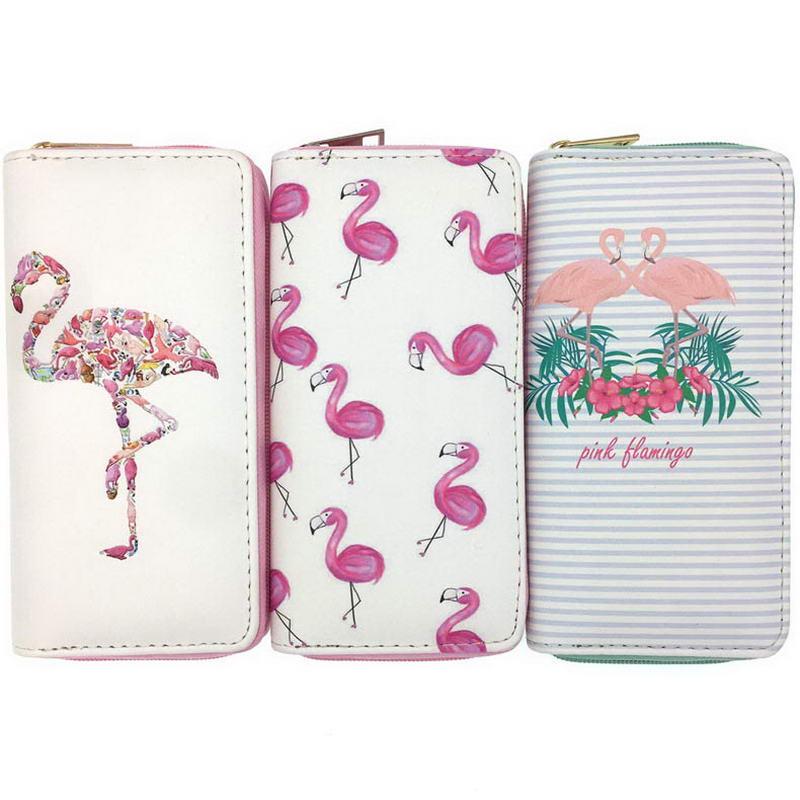 Billetera de flamenco rosa KANDRA 2019, cartera larga de piel sintética a la moda para mujer, cartera para mujer, cartera con diseño de aves para niñas, tarjetero para teléfono