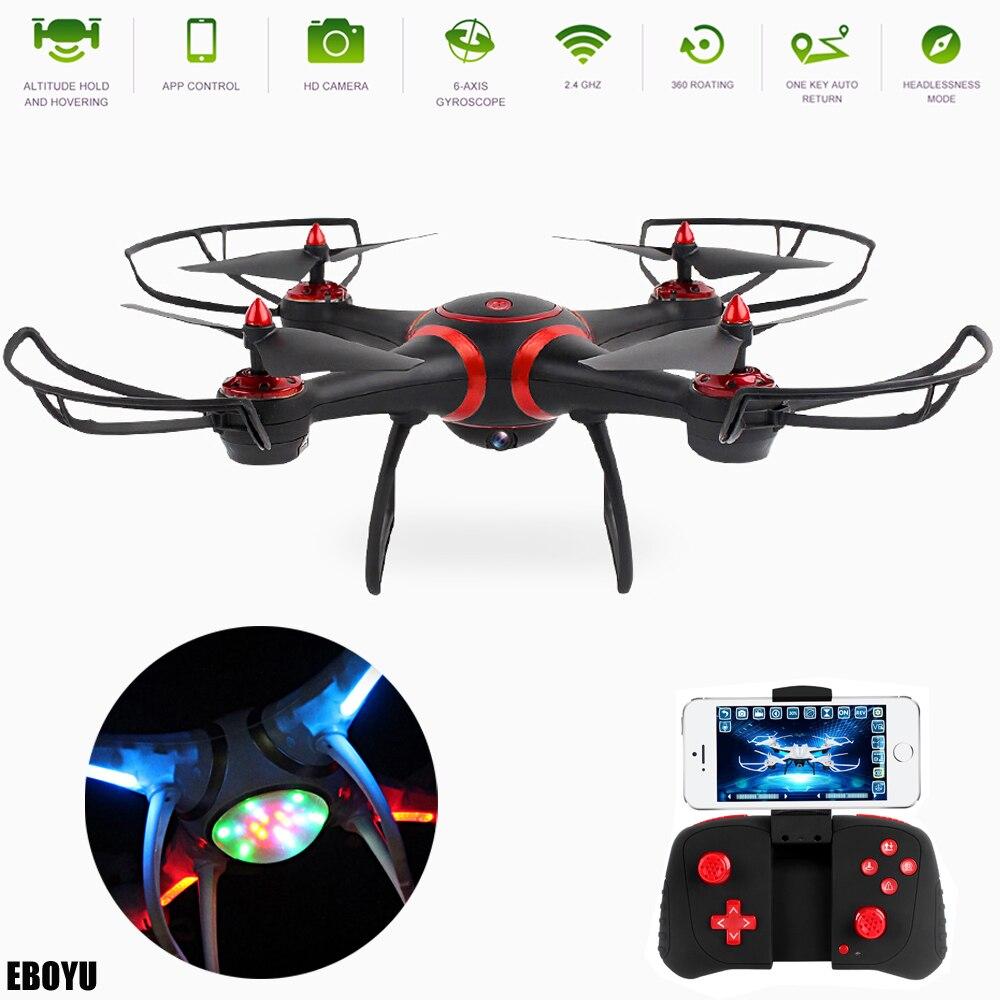 EBOYU S7 2,4 Ghz WiFi FPV Drone con colorido único luces de Flash LED altitud una retorno clave RC Quadcopter Drone