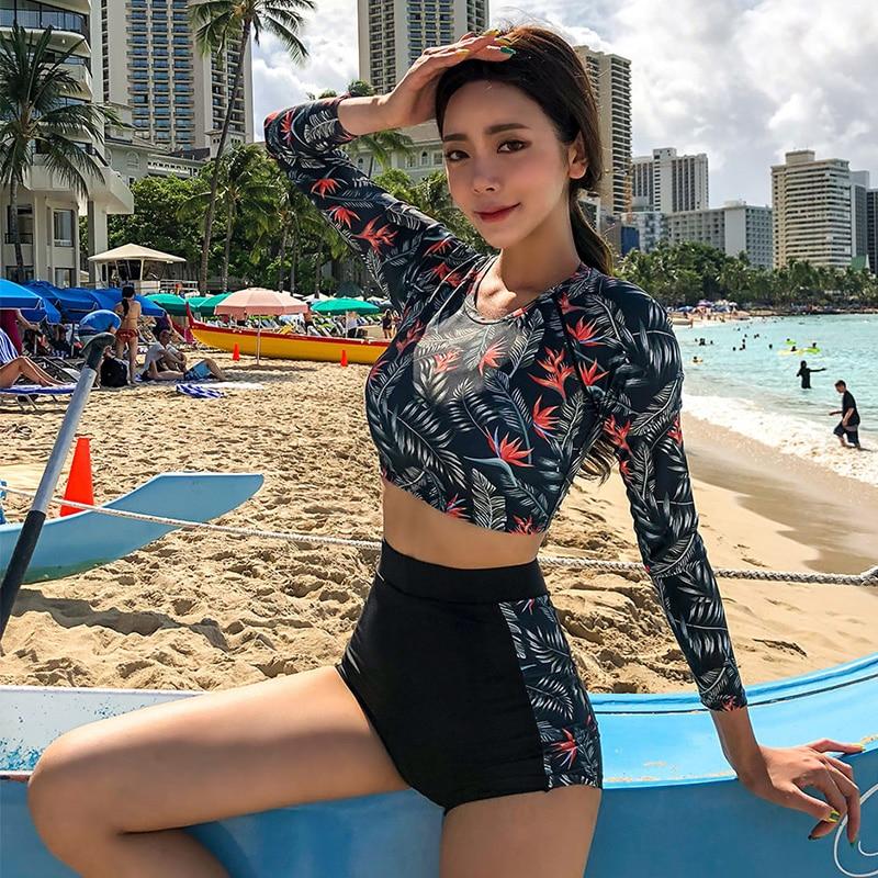 De dos piezas conjunto de Bikini estilo coreano mujeres Sexy bañador adorable Tankini conjunto de manga larga trajes de baño ropa de playa lycra