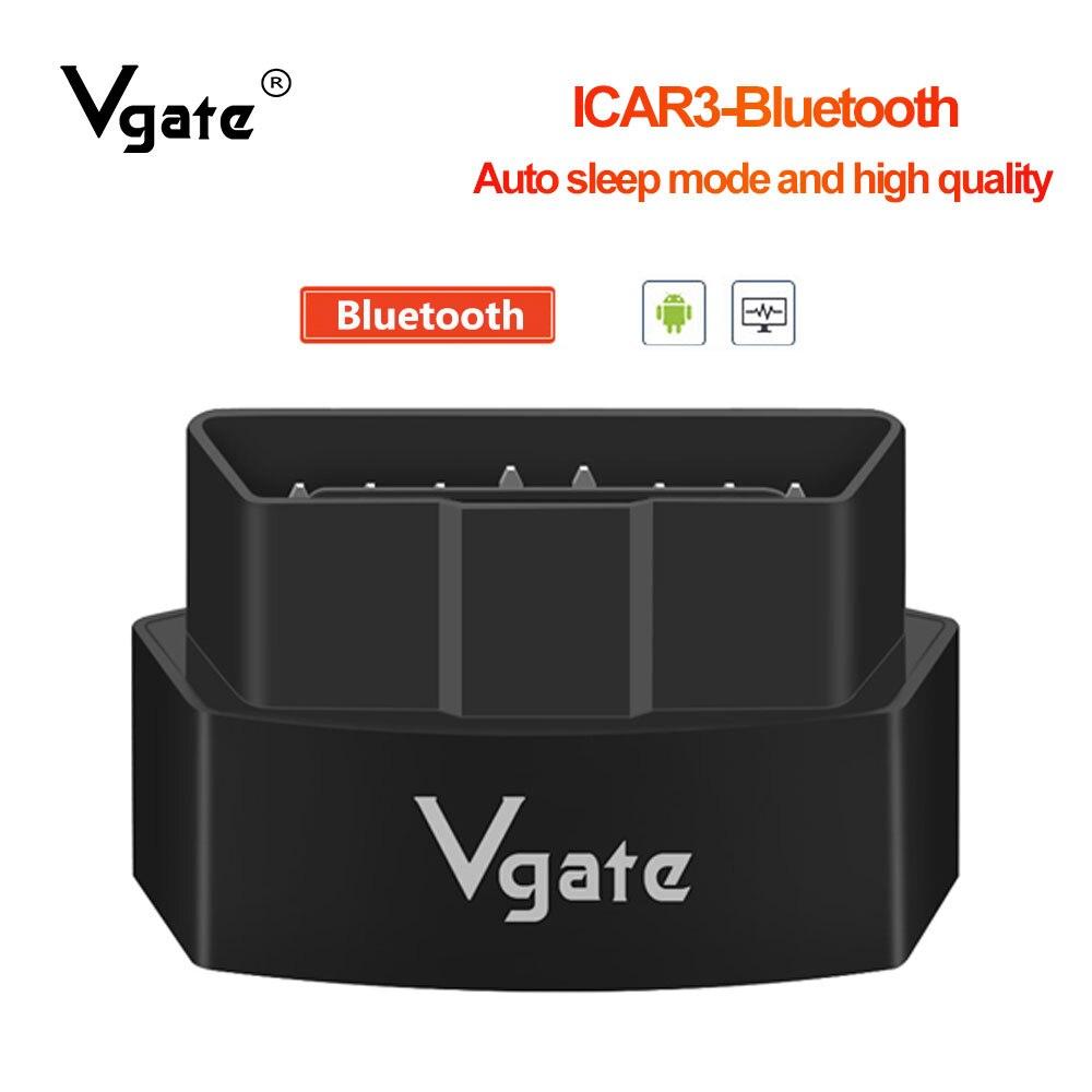 Vgate icar3 elm327 v2.1 Bluetooth OBD2 herramienta de diagnóstico para android/PC lector de código mejor que elm 327 V1.5 PIC18F25K80 obd2 scan