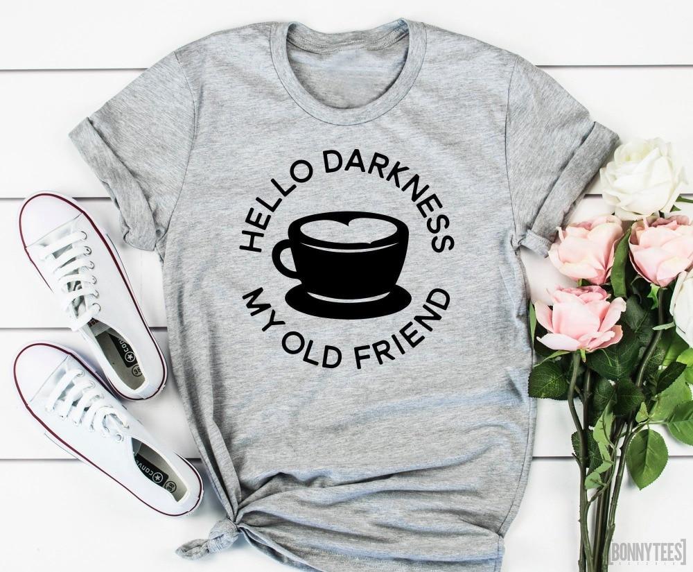 Женская футболка с надписью «Hello Darkness My Old Friend», модная футболка с милым графическим принтом tumblr в уличном стиле, Винтажная футболка для вече...