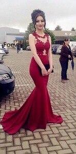 Arabic Red Mermaid Prom Dresses Long 2019 vestidos de fiesta de noche Sheer Special Occasion Dress Formal Women Evening Gowns