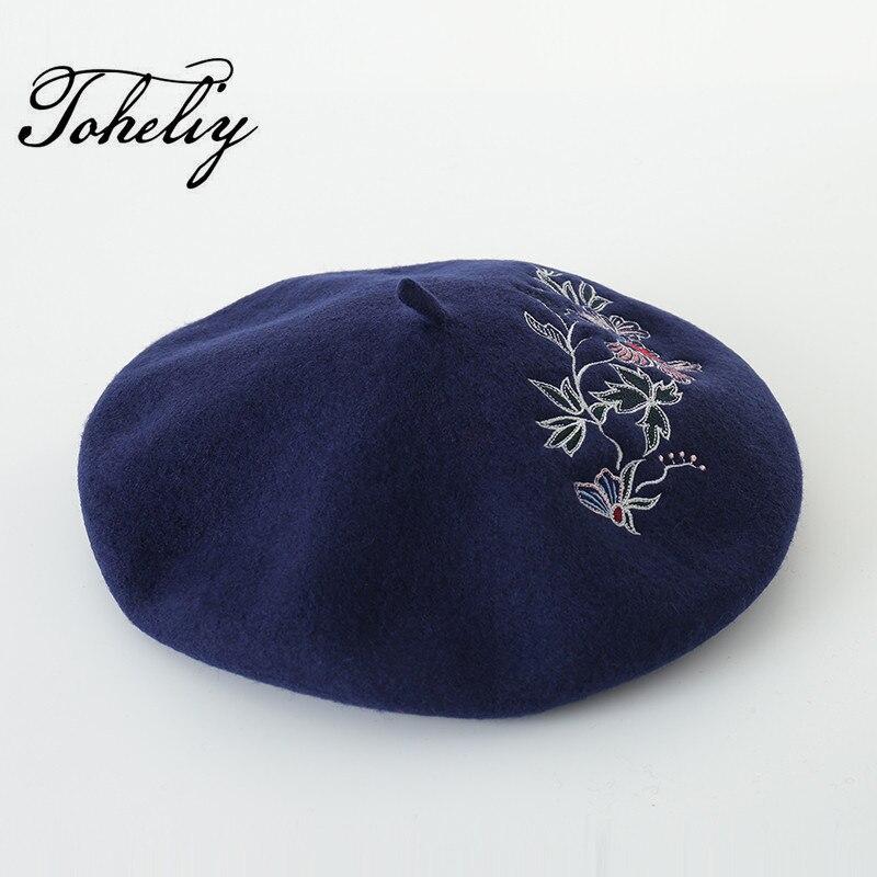Nuevo estilo de primavera 100% lana invierno bordado de La Flor de las mujeres sombrero de la boina para chica dulce regalo gorros de otoño