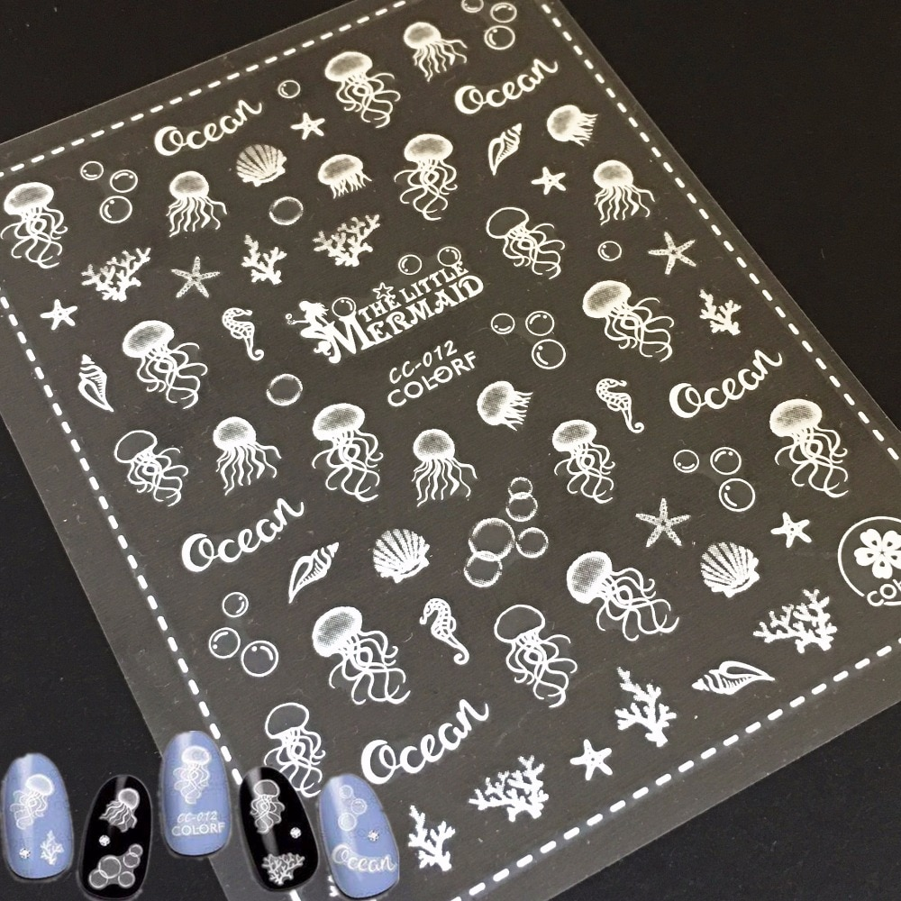 Новые 3d наклейки для ногтей в виде желейной рыбы, наклейки для ногтей на заднюю панель, наклейки для ногтей, шаблоны японского типа, украшени...