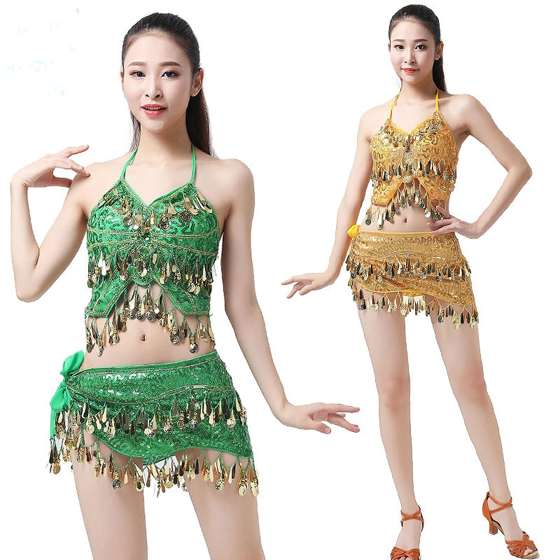 2pcs Belly Dance Costumes Sequins Coins Belly Club Wear Outfits Stage Dance Show Performance Carniva