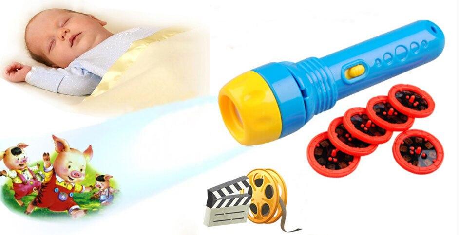 [Engraçado] bebê dormir história sono projeção lanterna lâmpada de conto de fadas imagens de brinquedo de luz ajudar o bebê a dormir brinquedos