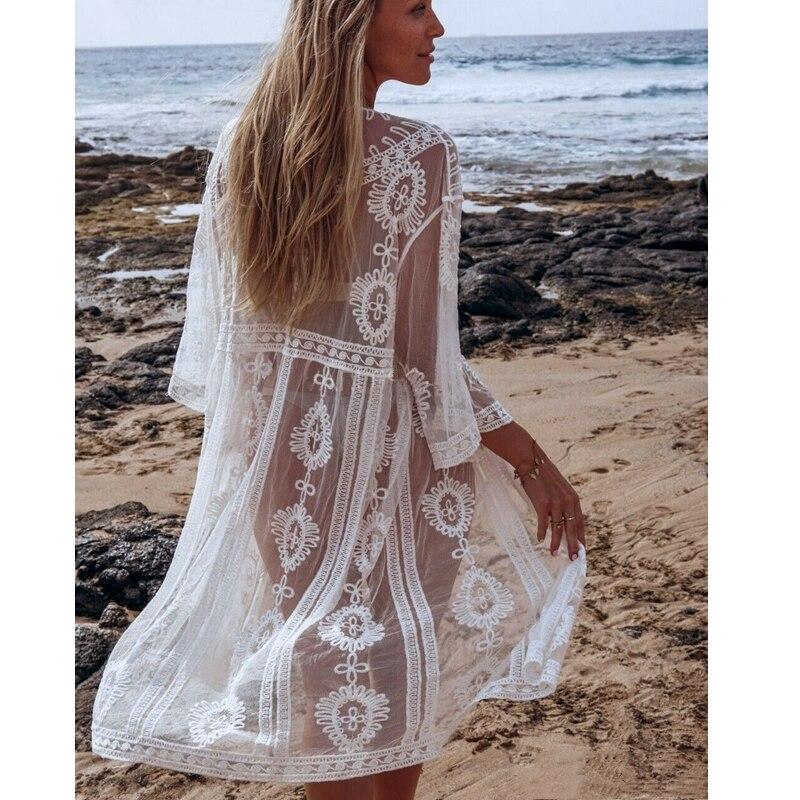 2020 mujeres Lace Mesh Cover Ups Cardigan blanco playa vestido traje de baño Kimono Hollow Out Swimsuits cubre-ups