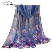 new chiffon silk scarf female spring summer autumn winter all match scarf long design air conditioning cape silk scarves shawl