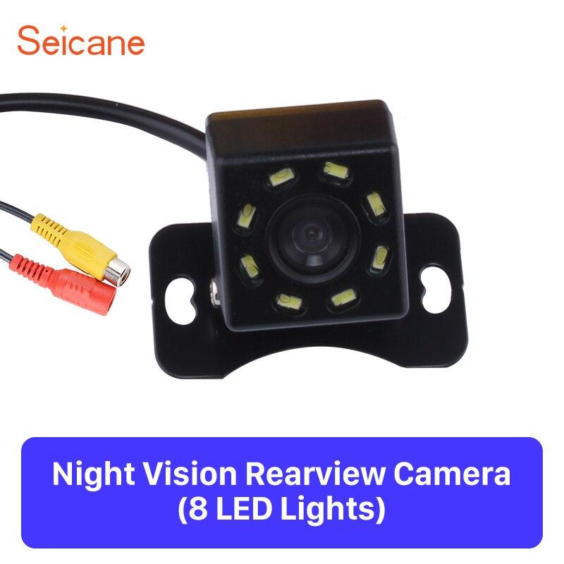 Seicane 2,3*2,3*2,3 cm cámara de visión trasera de coche copia de seguridad de aparcamiento inverso 648*488 píxeles CCD CMOS con 8 LED Monitor de plástico Kit