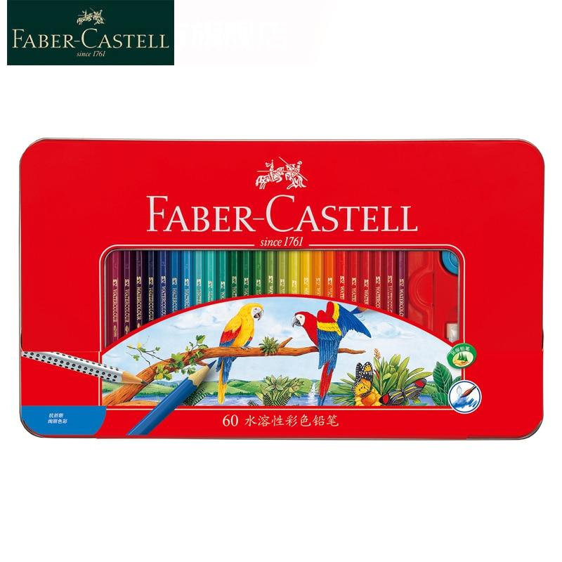 Faber Castell-lápices de colores, 24/36/48/60/72, caja de hierro roja, lápiz de color Soluble en agua para material escolar