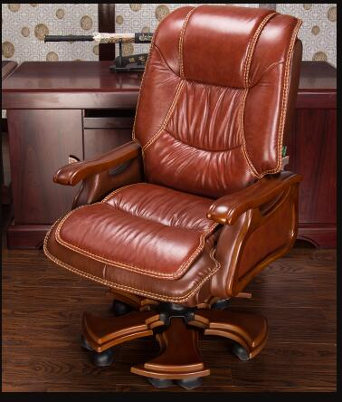 Boss chair. Real leather computer chair. Home massage can lie in the leather chair. Solid wood armrest office chair.06 real leather boss chair can lie high grade massage computer chair home office chair real wood swivel chair 08