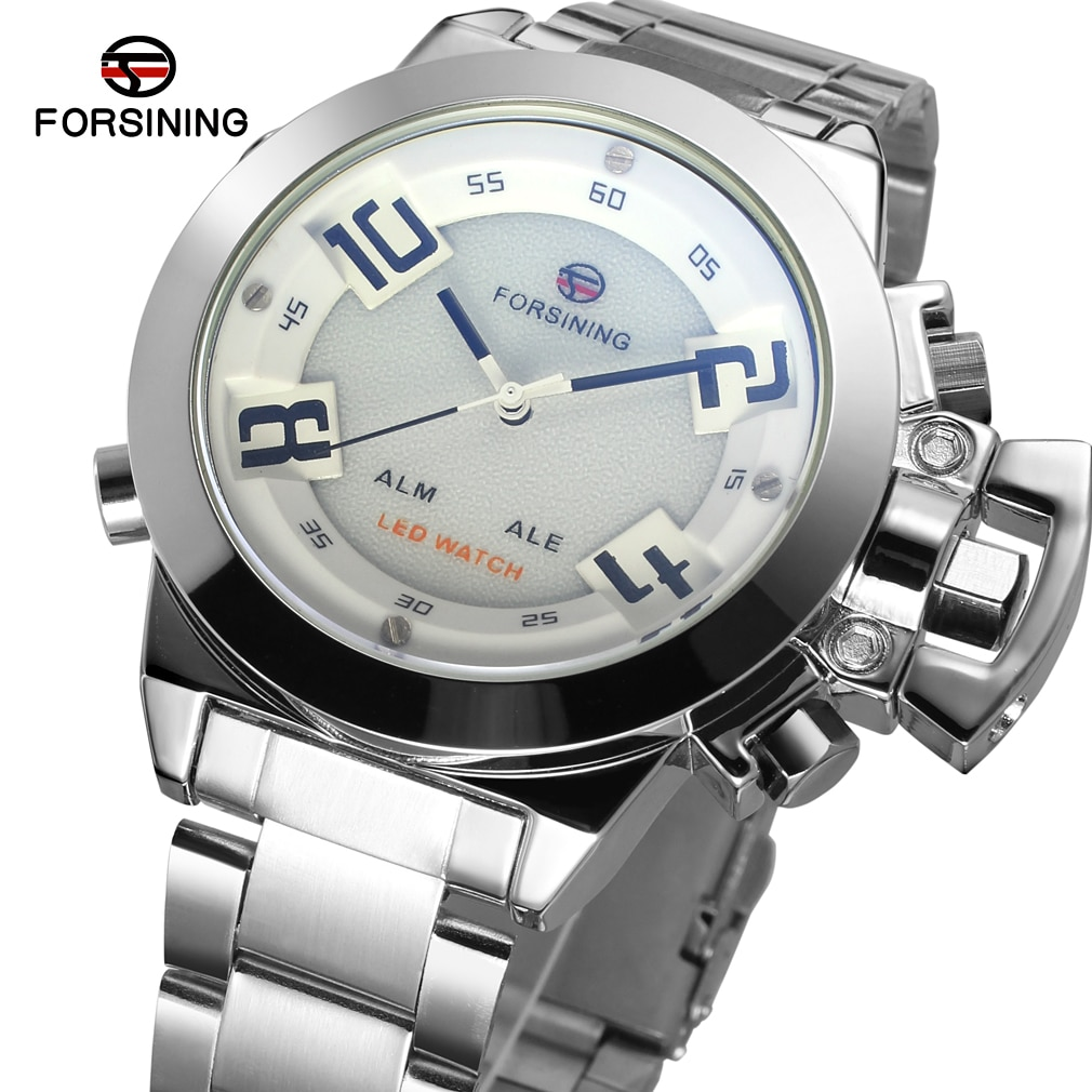 Moda novo vencedor topo marca masculina completa stee inoxidável display led branco dial cor prata caso quartzo analógico-digital vestido relógio