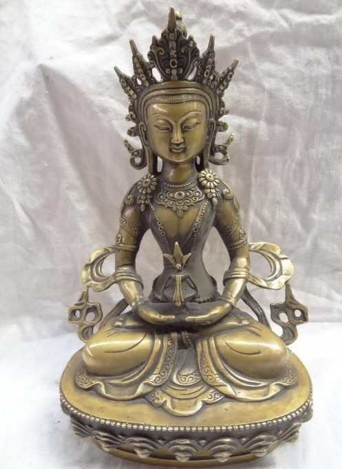"xd 00781 12"" Tibet Bronze Buddhist Joss Pray Bless Kwan-Yin Joss Amitayus Buddha Statue"