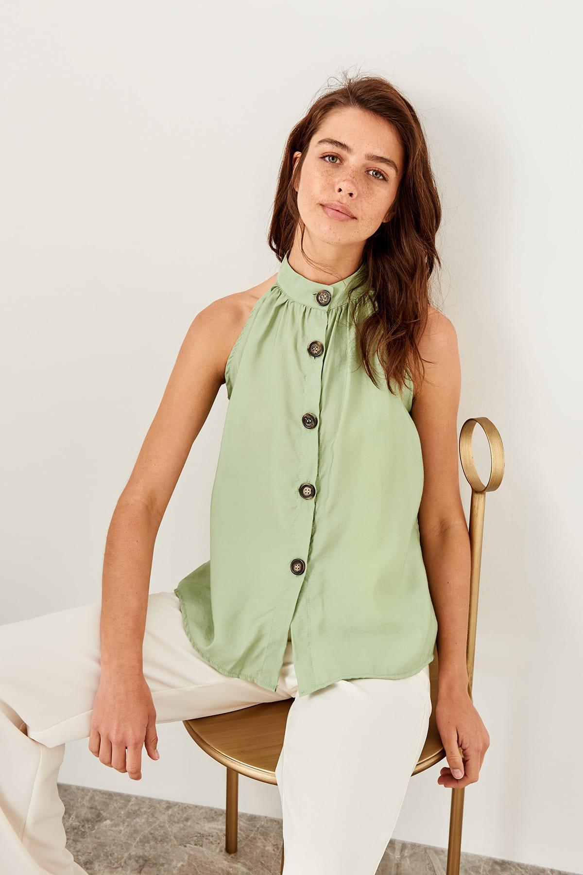 Trendyol Mint Bone Button Detail Bluz TWOSS19GK0054