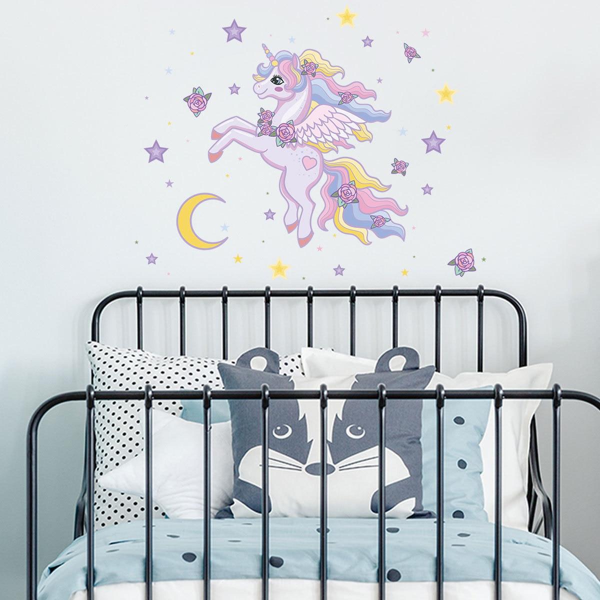 Room decor moon star unicorn cartoon wall stickers for kids rooms living room bedroom wall sticker