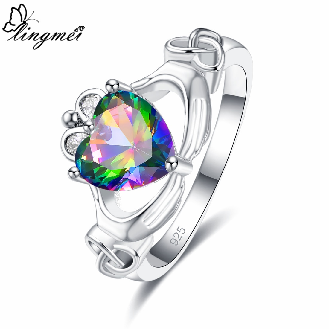 Lingmei Claddagh anillo de compromiso de corazón de novia de estilo de boda para mujeres circonita multicolor Color plata anillo de moda joyería tamaño 6-9