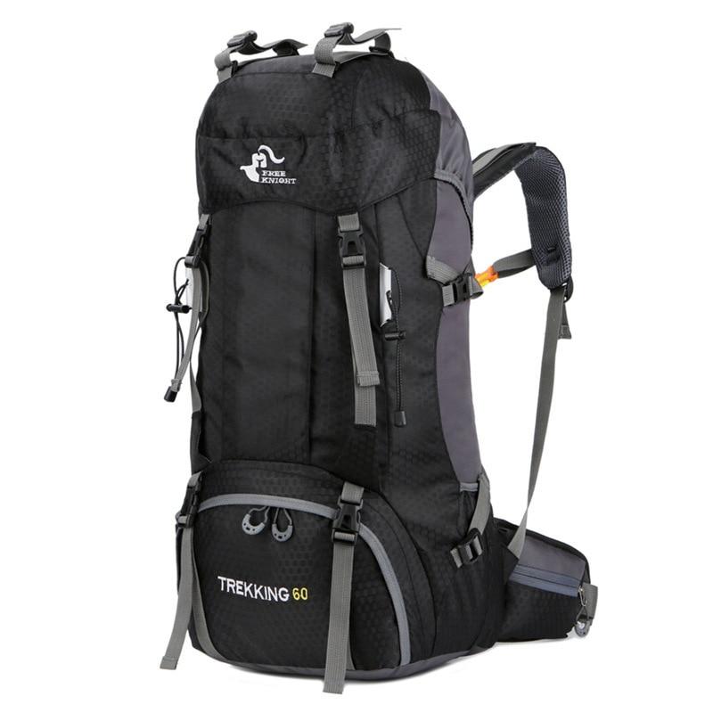 2019 New 60L Large Capacity Nylon Hiking Backpack Camping Hiking Trekking Travel Bag Outdoor Waterproof Bag with Rain Cover XNC