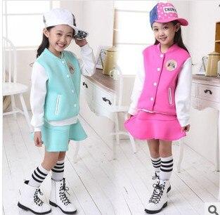 Комплект из 2 предметов, куртка и юбка для девочек, Детский комплект из куртки и юбки, демисезонные куртки для девочек, детские комплекты бей...