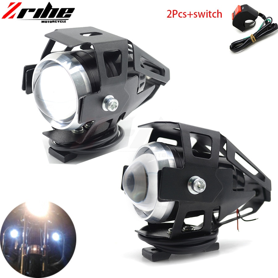 Для 2 шт. 125 Вт мотоциклетные фары вспомогательная лампа U5 светодиодный прожектор аксессуары 12 В мото DRL точечные фары