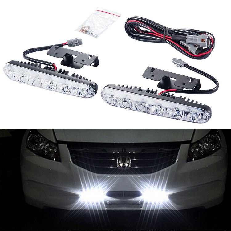 1 pair 12 v 6 LED Daytime Running Luz DRL Universal Kit Luz do Dia Luz de Condução Auto Luz Externa À Prova D Água