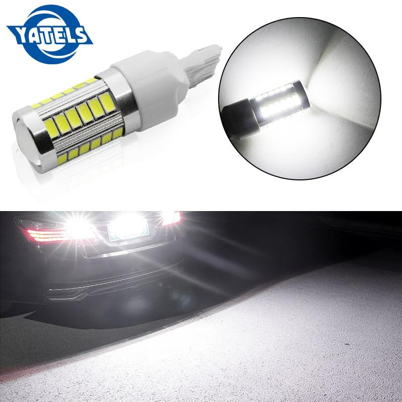 1 Uds T20 7440 W21W WY21W 33 smd 5730 5630 LED coche amarillo ámbar intermitente luz de freno roja blanca Auto luces de marcha atrás 12V