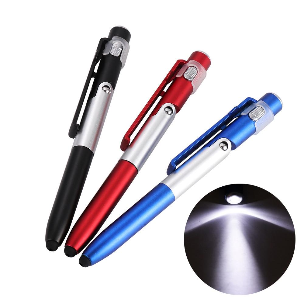 Simples 4-em-1 Lanterna Caneta Esferográfica Dobrável Portátil Caneta Stylus Para Celular Útil Multi-Função de Telefone suporte de Luz Da Noite