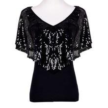 Summer Women Sequined T shirts Lady Sparkle Glitter Tank Short sleeve Top T-Shirt S M L XL
