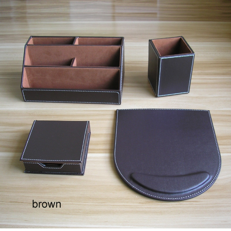 Conjunto de 4 unidades de madera de cuero de puerco organizador de...
