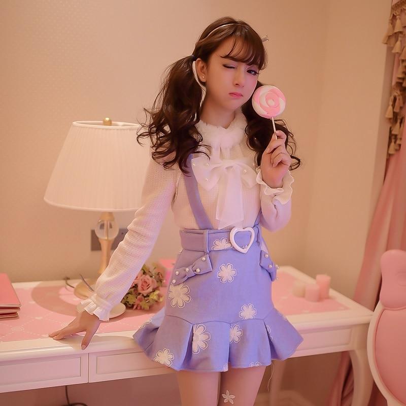 Princesa dulce abrigo lolita caramelo lluvia dulces tirantes falda falbala bordado tela cola faldas C16CD5969