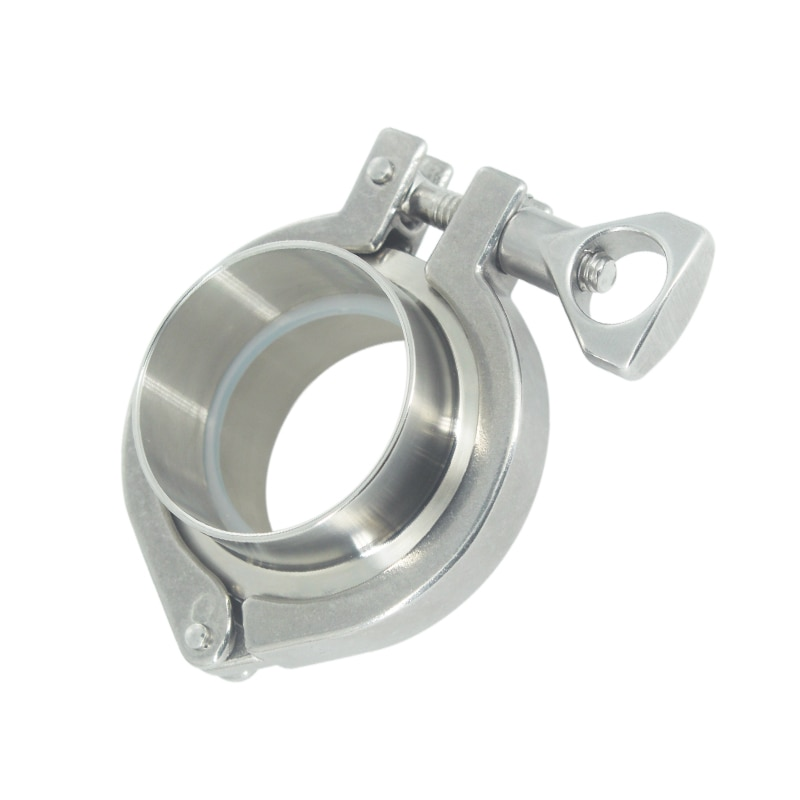 Stainless Steel SS304 OD 51mm 2 Flange Weld Ferrule Set +PIFE Gasket + Tri Clamp Clover Pipe Fittings Set a set 38 51 63 76 89 102 pipe o d sanitary tri clamp weld ferrule tri clamp silicon gasket 304 stainless steel for homebrew