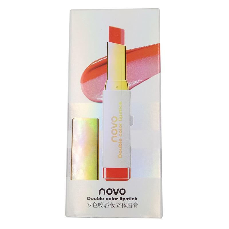 8 cores de Batom Veludo Dupla Cor Dos Lábios Maquiagem Tridimensional Hidratante Batom Blam Lábio Cosméticos