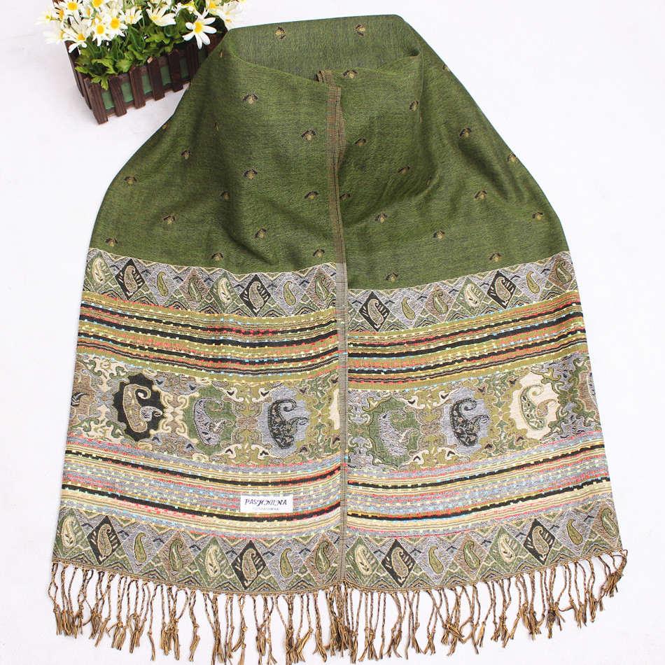 Gran oferta Chal verde clásico para mujer Reversible de dos caras Bufanda Pashmina bufandas Mujeres Bufanda Chal tamaño 70x190cm WSA09