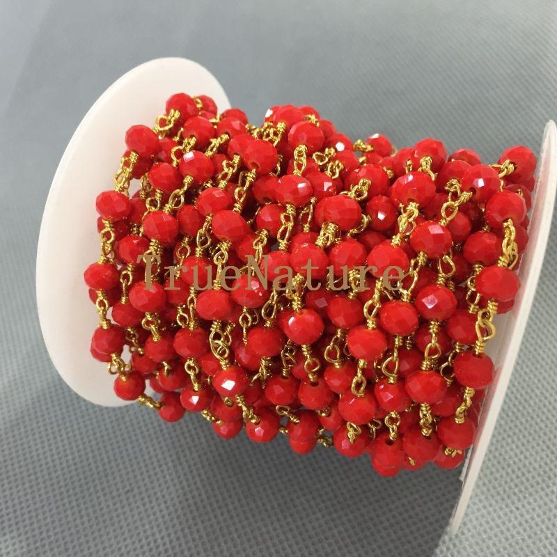 Cadenas de Rosario galvanizadas de oro, componentes de cuentas de cristal transparente, cadenas 4x6mm RC5029