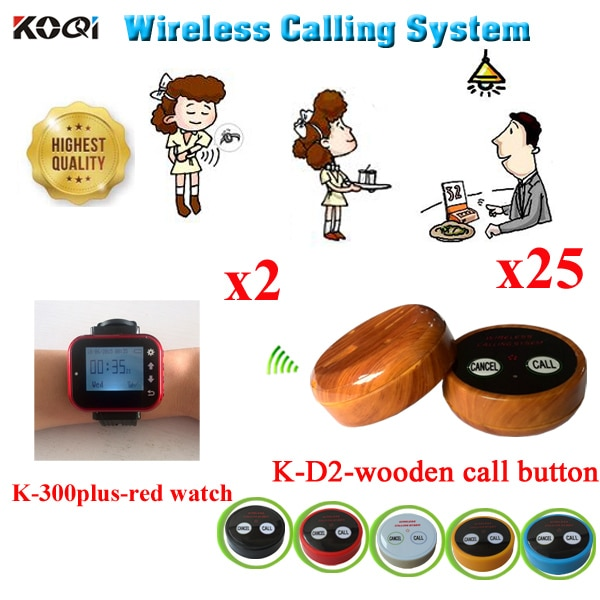Wireless Calling System One-Stop Supply Commerical Catering Used In Restaurant Equipment For Guest(2 watch+25 call button)