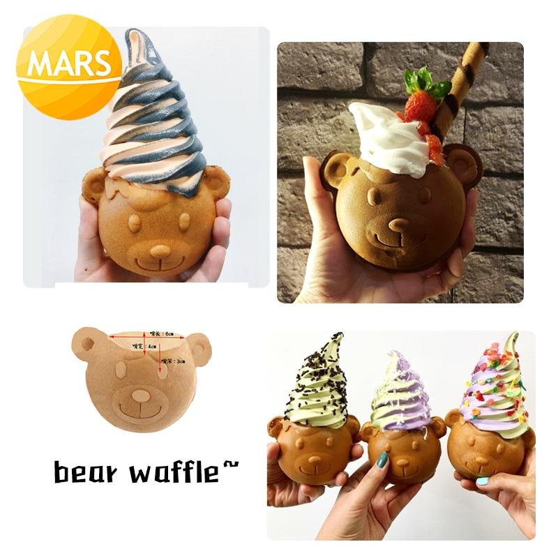 Electric Big Open Mouth Taiyaki 110V 220V Ice Cream Bear Waffle Cones Maker Making Machine Baker Iron Plate недорого