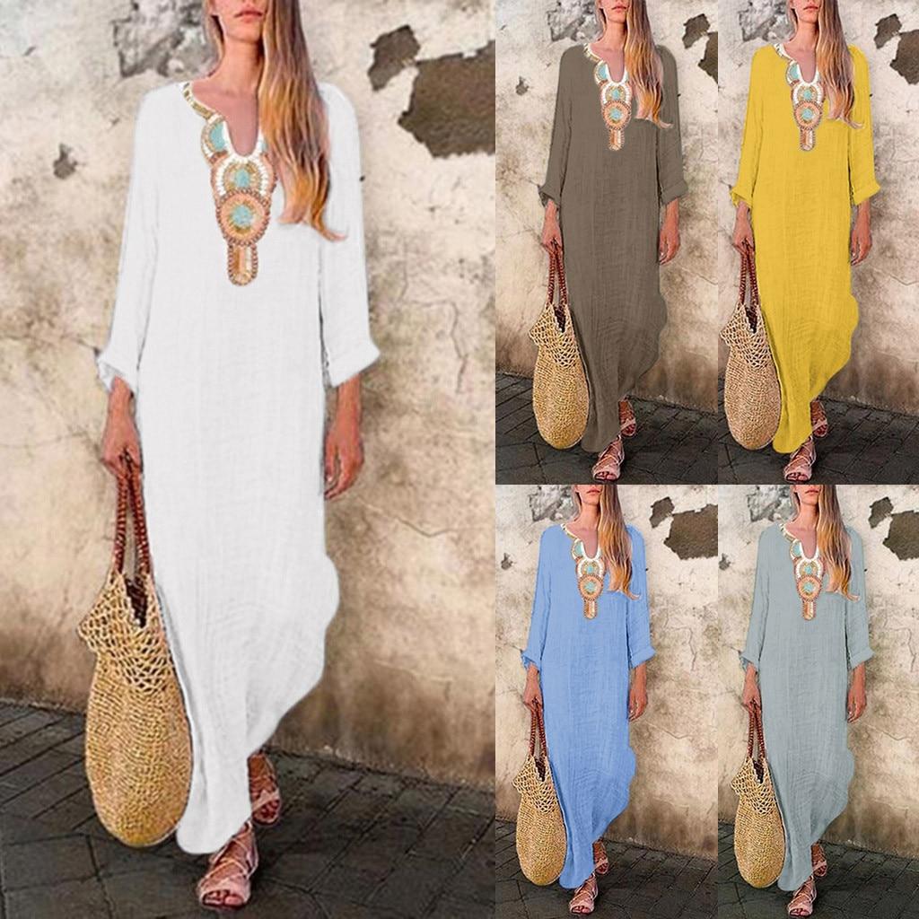 2020 vestido de mujer estampado de manga larga cuello en U Maxi vestido Split Hem holgado Kaftan vestido largo túnica Mujer Vestidos de talla grande