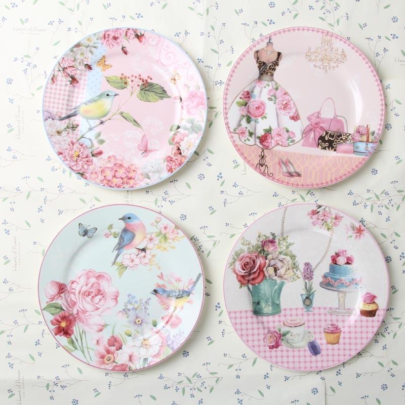 Europa Rural hueso China Platos y platos porcelana postre plato pastel bandeja cerámica vajilla plato carne cena Decoración